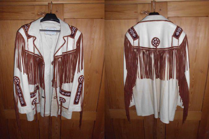 Designer: Burray Olson made in New Mexico by Arturo Braun Beige mit Perlen und Fransen (gebraucht) (XL)