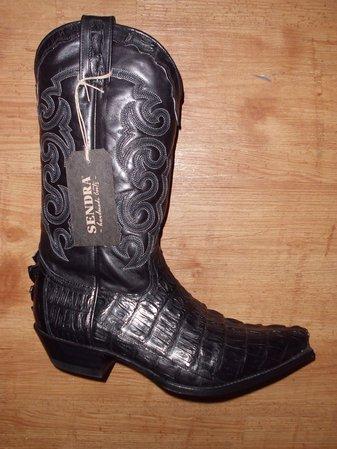 Sendra Boots echt Kroko schwarz