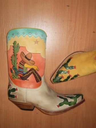 Sendra Boots gelb Leinen