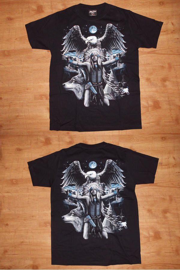 T-Shirt Häuptling Adler (leuchtet im Dunkeln)